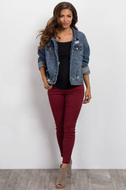 Burgundy Moto Maternity Jegging