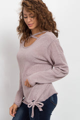 Mauve Knit Crisscross Tie Sweater