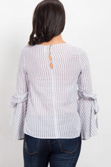 Grey Striped Ruffle Bell Sleeve Tie Top