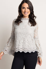 Grey Lace Overlay Cutout Scalloped Trim Blouse