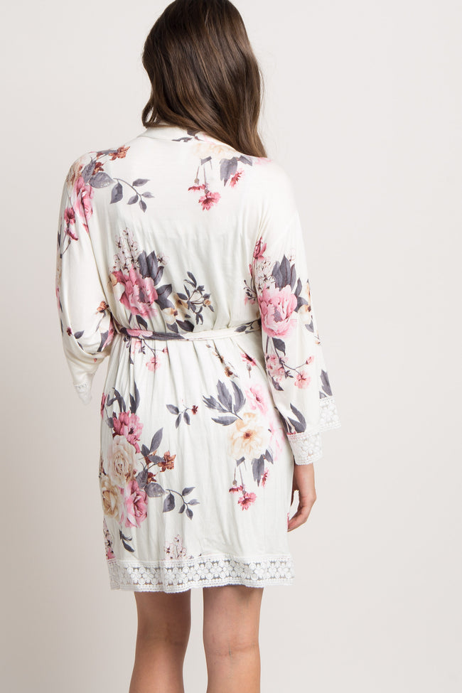 Ivory Floral Lace Trim Delivery/Nursing Maternity Robe