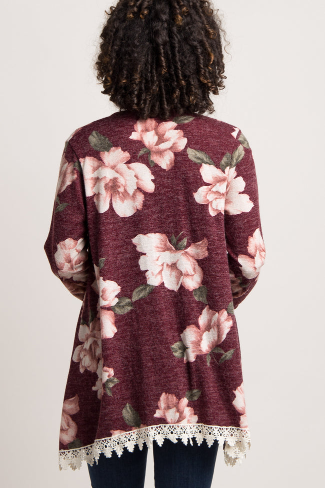 Burgundy Floral Crochet Trim Knit Maternity Cardigan