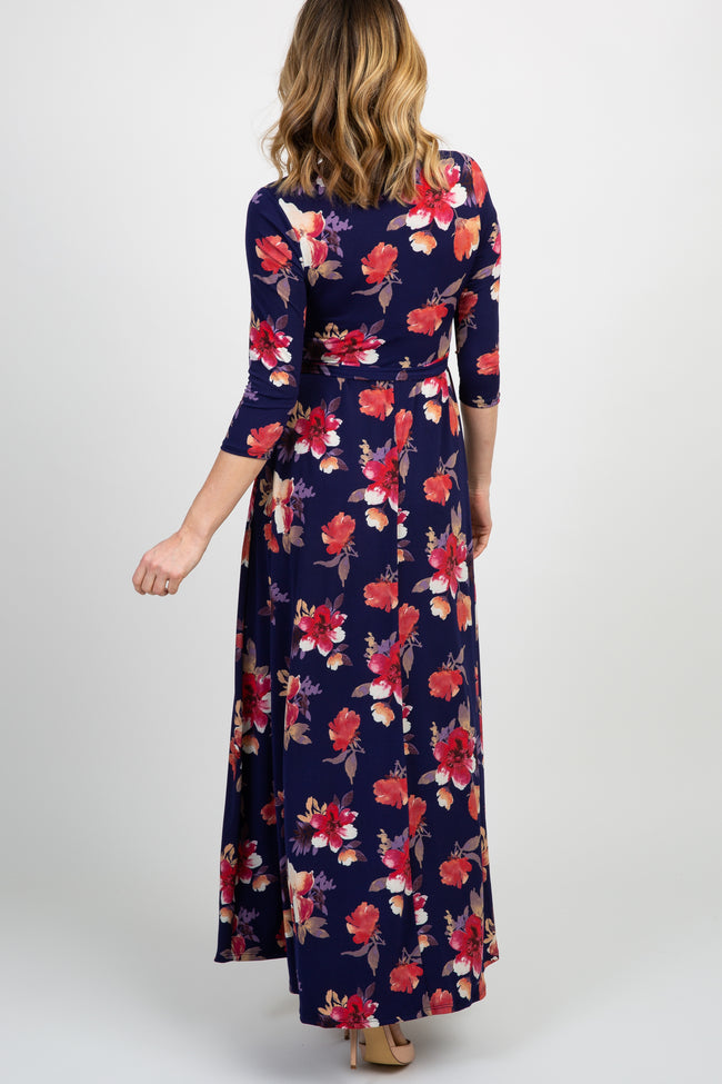 Navy Floral Sash Tie Maxi Dress