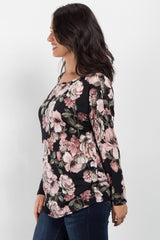 Black Floral Long Sleeve Top