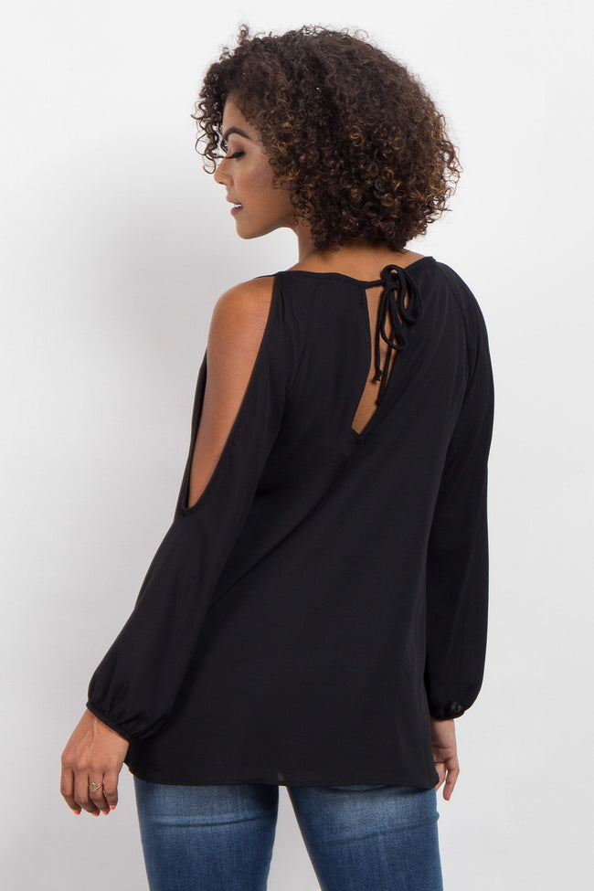 Black Chiffon Cold Shoulder Maternity Top