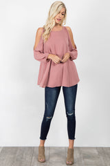 Mauve Chiffon Cold Shoulder Top