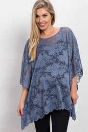 Blue Sheer Rose Lace Maternity Poncho Top
