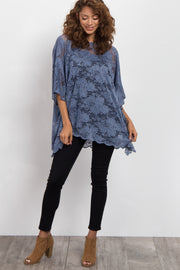 Blue Sheer Rose Lace Poncho Top