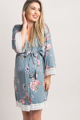 Dusty Blue Floral Lace Trim Delivery/Nursing Maternity Robe