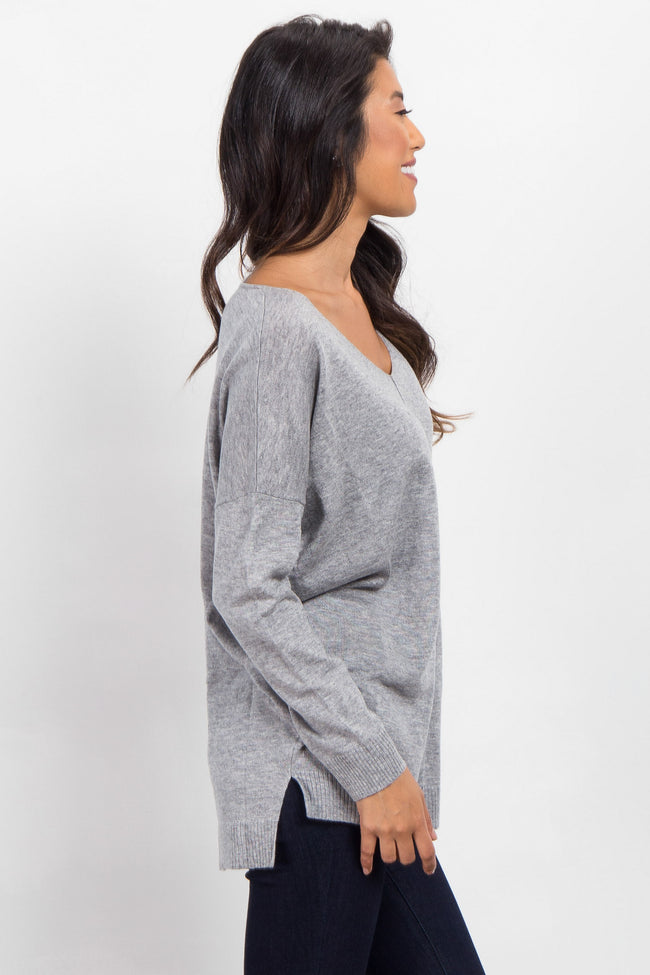 Grey V-Neck Long Sleeve Top