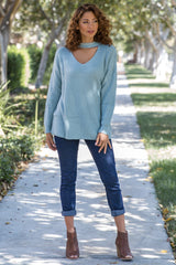 Mint Green Cutout Front Knit Sweater