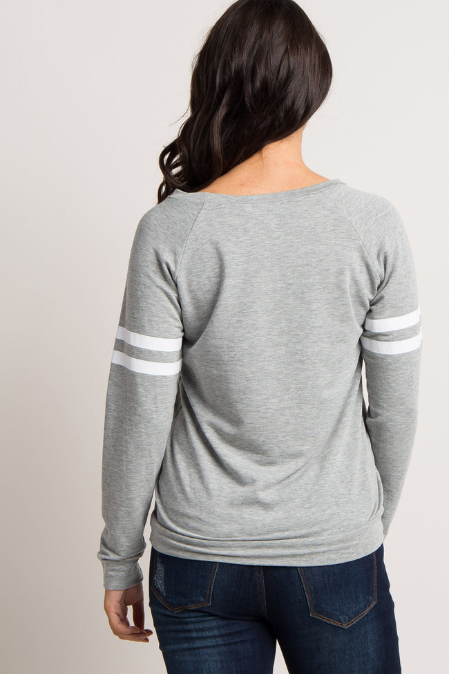 Heather Grey Striped Colorblock Sleeve Top