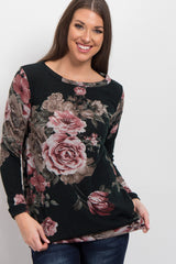 Dark Green Rose Floral Long Sleeve Sweater