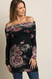 Green Floral Off Shoulder Fitted Knit Maternity Tunic