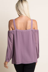 Lavender Chiffon Cold Shoulder Cutout Top