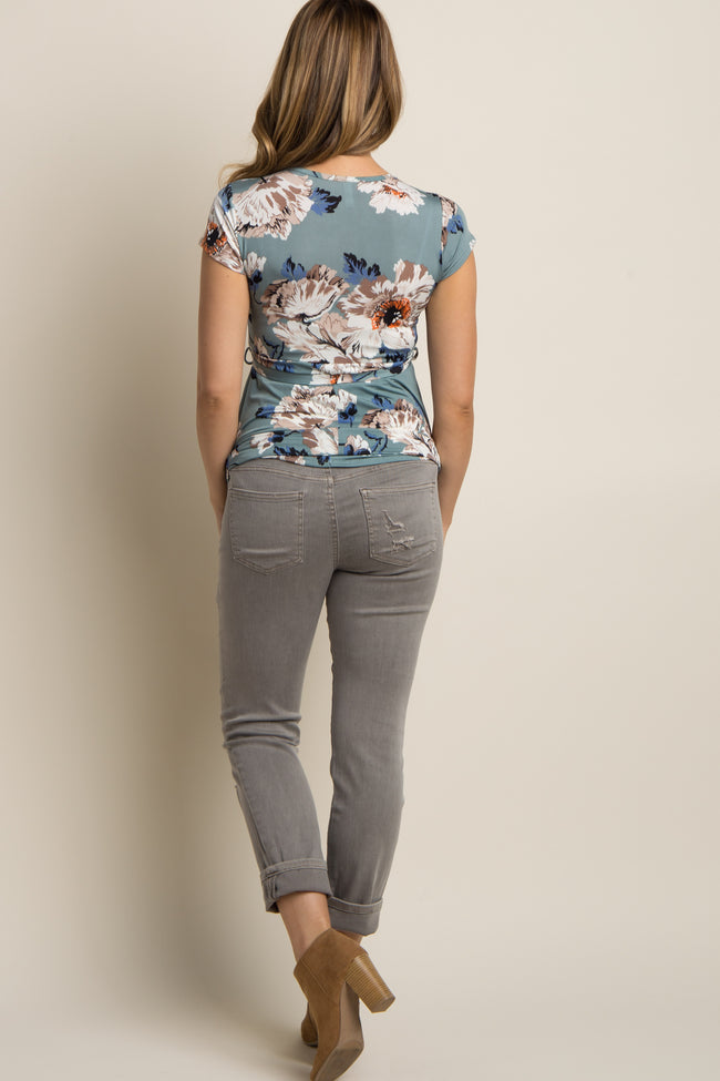Grey Distressed Cuffed Maternity Jeans