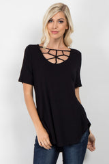 Black Caged Front Short Sleeve Top