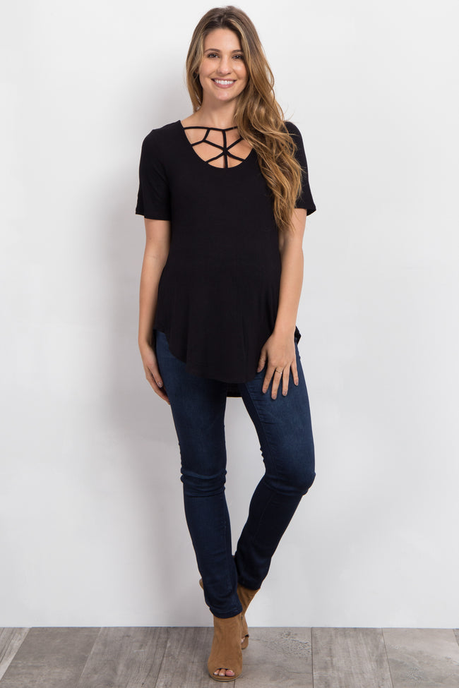 Black Caged Front Short Sleeve Maternity Top