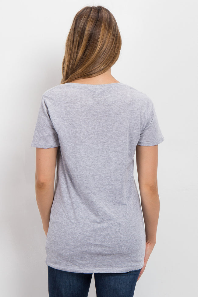 Heather Grey Solid Short Sleeve Maternity Top