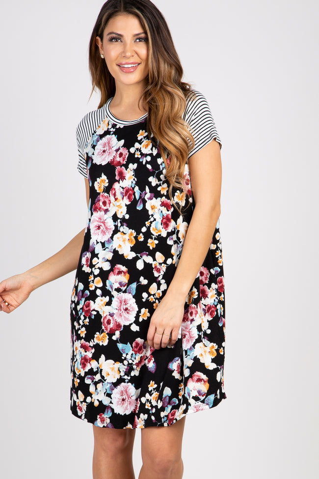 Black Floral Colorblock Striped Maternity Dress