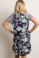 Navy Blue Floral Colorblock Striped Maternity Dress