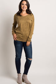 Yellow Heathered Long Sleeve Knit Top