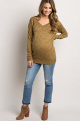 Yellow Heathered Long Sleeve Knit Maternity Top