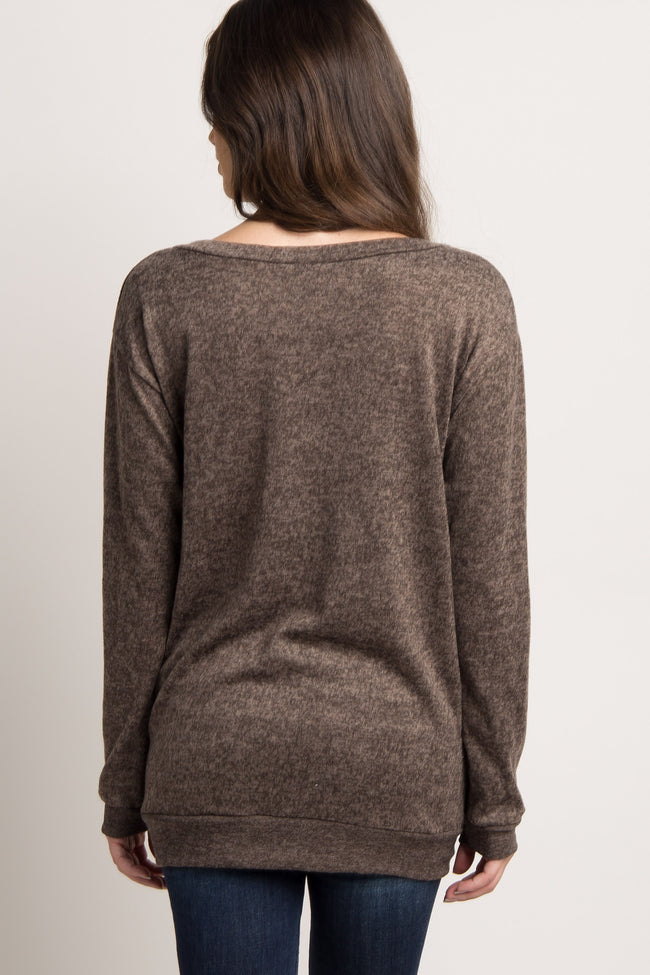 Mocha Heathered Long Sleeve Knit Maternity Top
