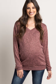 Mauve Heathered Long Sleeve Knit Maternity Top