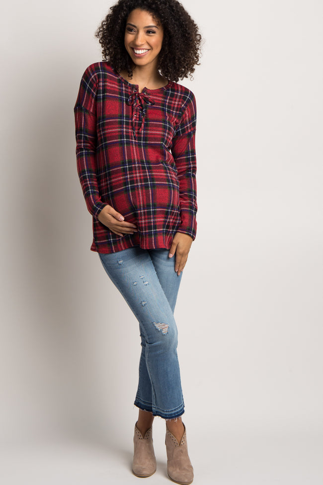 Red Plaid Lace-Up Maternity Top