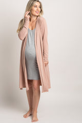 Pink Solid Delivery/Nursing Maternity Robe