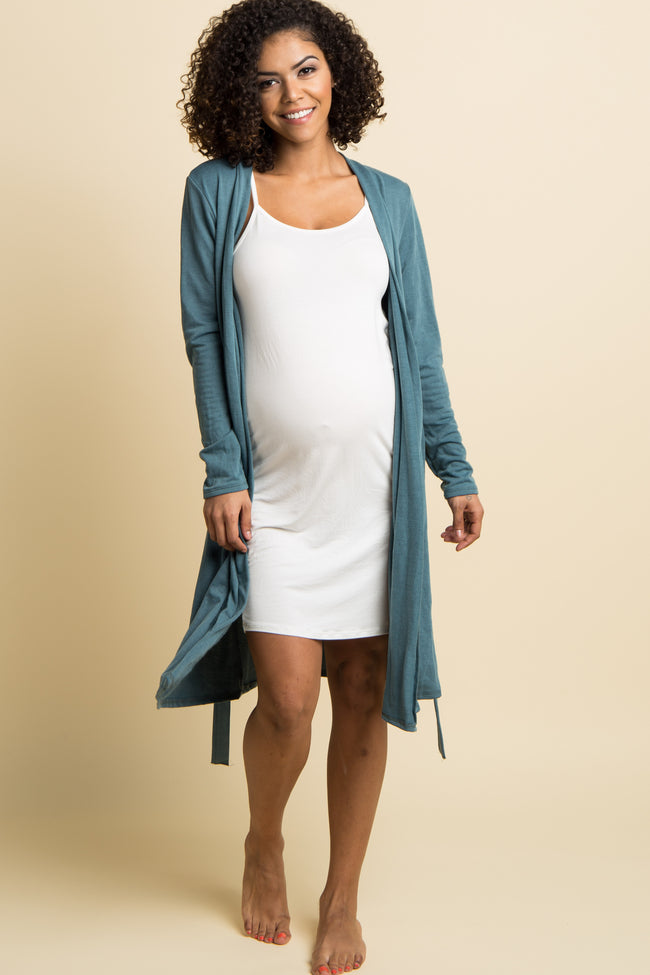 Teal Solid Delivery/Nursing Maternity Robe