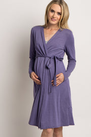 Purple Solid Delivery/Nursing Maternity Robe