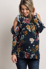 Navy Blue Floral Ruffle Cold Shoulder Knit Maternity Top