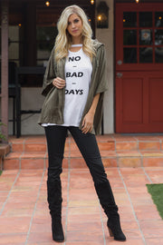 "White ""No Bad Days"" Graphic Cutout Top"