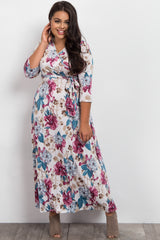 White Floral Sash Tie Plus Maternity Maxi Dress