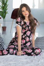 Black Floral Print Cuffed Maternity Pajama Set