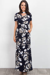 Navy Blue Floral Cutout Front Maternity Maxi Dress