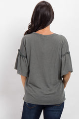 Olive Faded Ruffle Sleeve Top