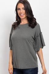 Olive Faded Ruffle Sleeve Maternity Top