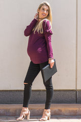 Burgundy Heathered Ruffle Sleeve Soft Knit Maternity Top