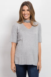 "Heather Grey Cutout ""Dreamer"" Neckline Graphic Maternity Top"