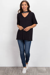 "Black Cutout ""Dreamer"" Neckline Graphic Maternity Top"