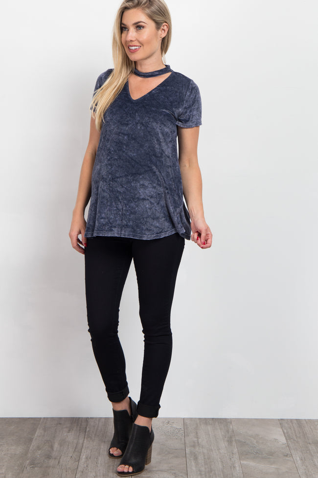 Navy Blue Crushed Velvet Cutout Maternity Top