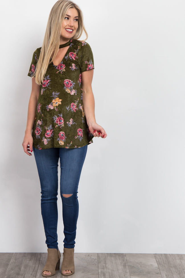 Olive Floral Crushed Velvet Cutout Maternity Top