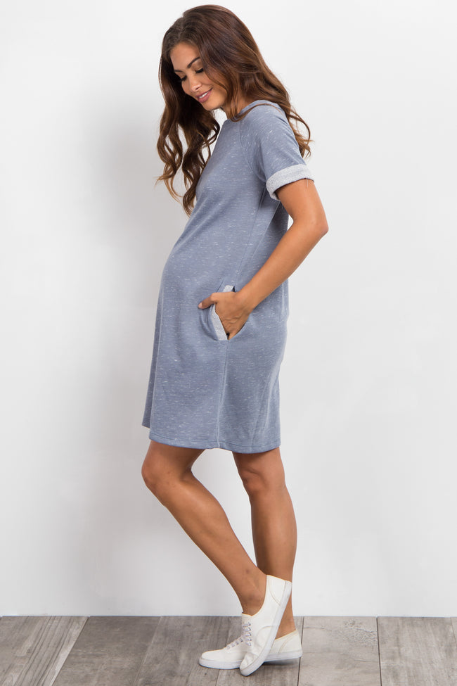 Blue Heathered Cuffed Maternity Dress