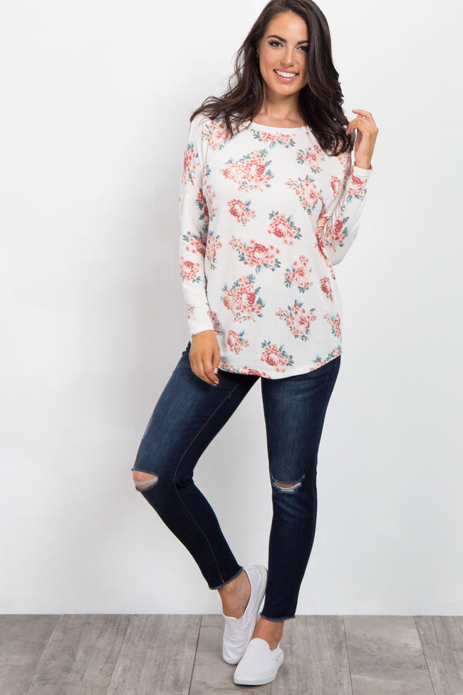 Ivory Floral Print Long Sleeve Top
