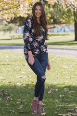 Navy Blue Floral Print Long Sleeve Knot Top
