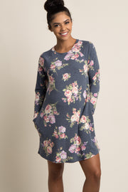 Black Floral Print Long Sleeve Maternity Sweater Dress