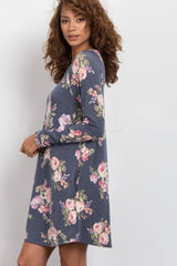 Black Floral Print Long Sleeve Sweater Dress